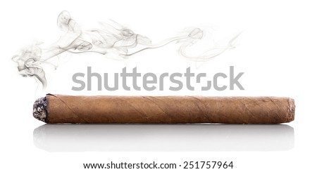 Smoking havana cigar isolated on a white background