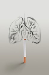 smoking kills concept design, lungs made from smoke of cigarette