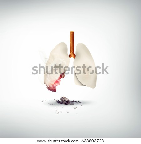 smoking kills concept design, lungs made of cigarette