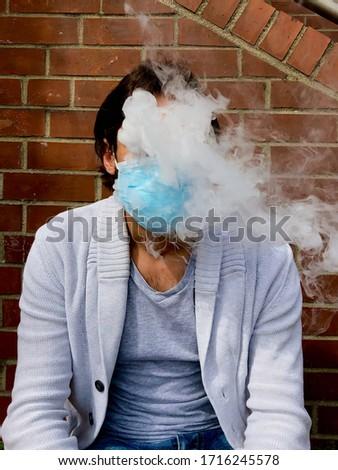 smoking man in the face mask, smoke cloud, face mask, COVID-19, medical mask, stay save, smoke dependence, e-cigarette smoke cloud, smoking hobby, mask wear