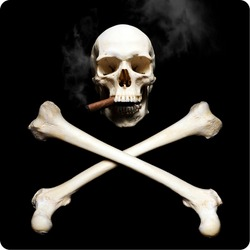 Smoking Real human skull with �rossbones