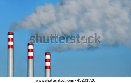 Smoking smokestacks. Conceptual picture - global warming