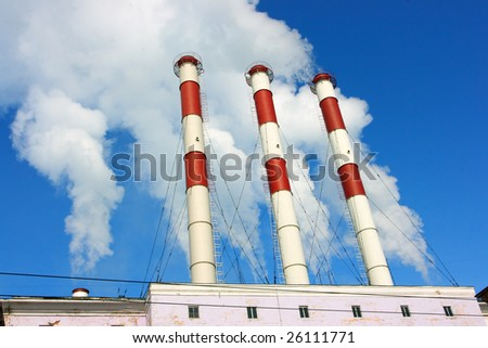 Smoking stacks of thermal power station