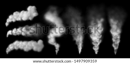 Smoking steam. Smoke puff from chimney, steaming geysir vapour and explosion cloud. Airplane or rocket vapour steam, hookah hot smoke. Isolated realistic 3D  signs set