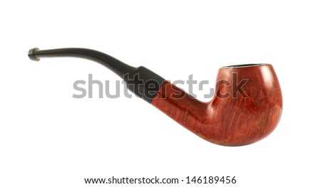 Smoking tobacco pipe isolated over white background, side view