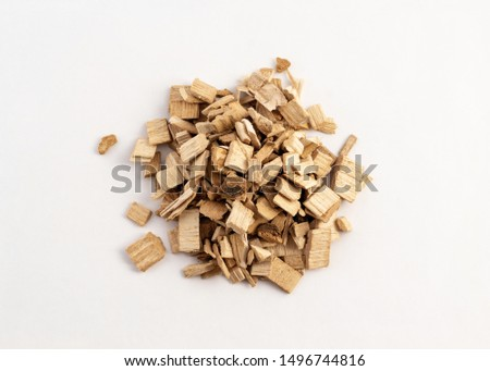 smoking wood chips for BBQ on white background ストックフォト ©