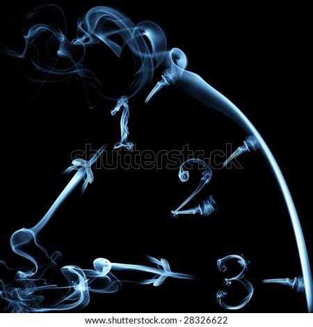 smoky clock on black background