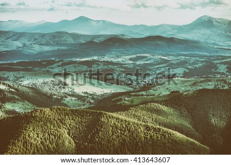 smoky mountains landscape with retro vintage filter