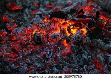 Smoldering ashes of a bonfire.