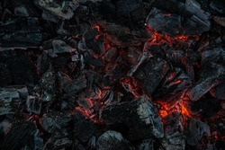 Smoldering charcoal in a barbecue