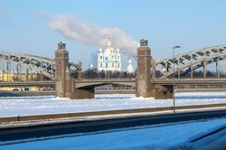 Smolny Cathedral in the alignment of the Bolsheokhtinsky Bridge. St. Petersburg. Russia