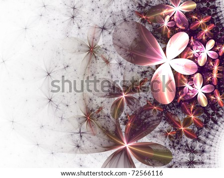 Smooth bright pink fractal flowers