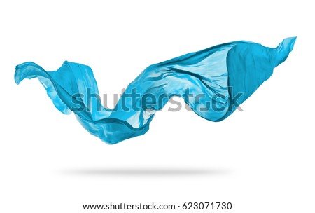 Smooth elegant blue transparent cloth separated on white background. Texture of flying fabric.