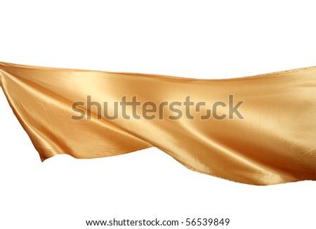 Smooth elegant golden satin isolated on white background