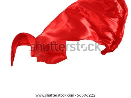 Smooth elegant red satin isolated on white background