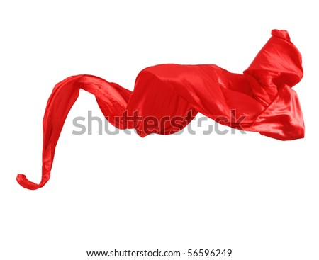 Smooth elegant red satin isolated on white background