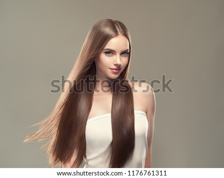 Smooth hair woman brunette with long hairstyle fly hair beauty #1176761311