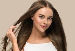Smooth long hair woman beautiful portrait