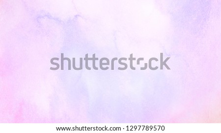 Smooth pastel colors wet effect hand drawn canvas. Grunge light sky pink, purple and blue shades aquarelle background. Watercolor paper textured illustration for design, vintage card, retro templates.