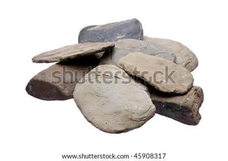 Smooth river rocks isolated on a white background with a clipping path.