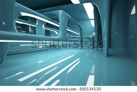 smooth turquoise interior. 3d...