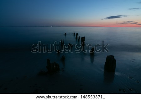smooth water seascape at the blue hour