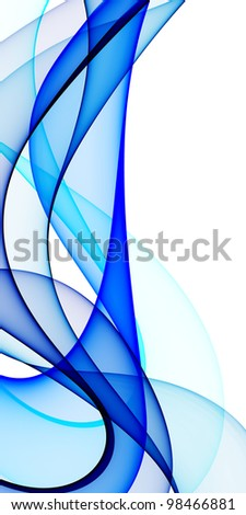 Smooth waves from blue tones on a white background