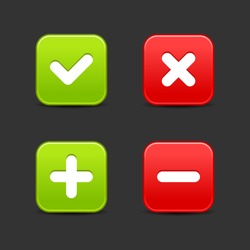 Smooth web 2.0 buttons of validation icons. Rounded square shapes with shadow on gray background. Bitmap copy my vector ID: 62771071