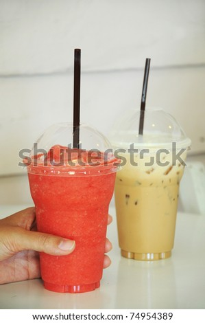 smoothie and ice coffee