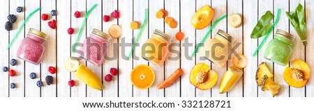 Smoothie banner. Healthy food concept. Fresh smoothies and fresh fruits.