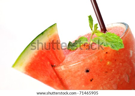 Smoothie water melon with slice water melon isolate on white background.