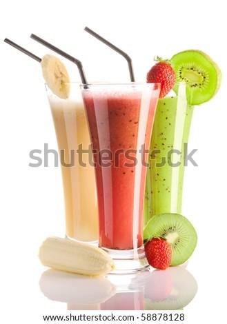 Smoothies isolated on white - strawberry, kiwi & banana