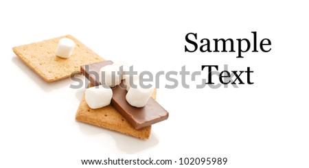 Smores Snack Against White with Space for Custom Text