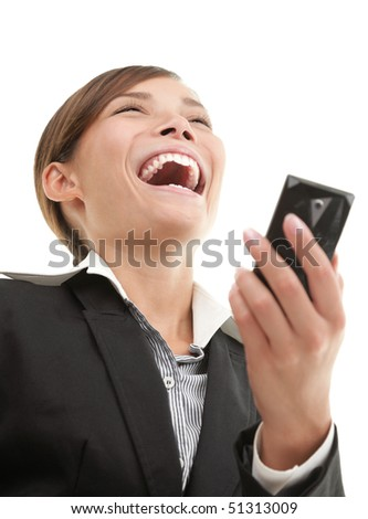 SMS woman getting funny text message on her mobile phone and is laughing. White background.