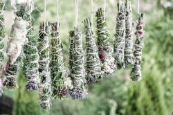 Smudge sticks on the rope. Dried herbs bound in bundles and hung on the rope.