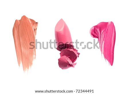 Smudged lip gloss or lipstick samples isolated on white