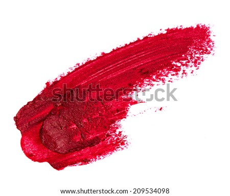 Smudged red lipstick isolated on white background