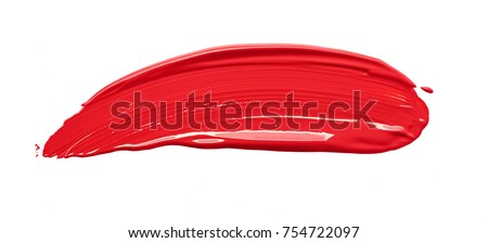 Smudged red lipstick isolated on white background #754722097