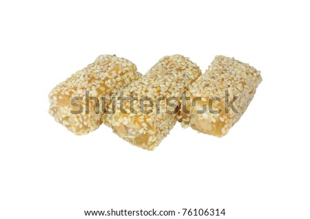 Snack nuts, sesame waffle mixture of nuts and sesame seeds.