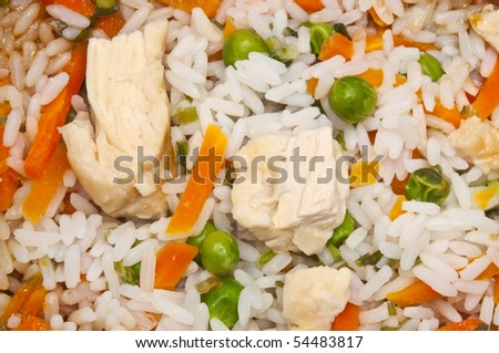 Snack of Chicken Fried Rice Close Up Background Image.