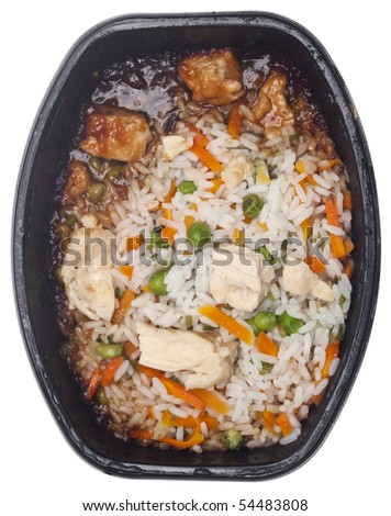 Snack of Chicken Fried Rice Isolated on White with a Clipping Path.