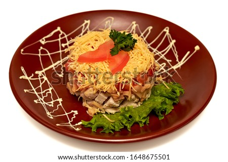 snack of chicken, pickled mushrooms, tomatoes, grated soap and mayonnaise