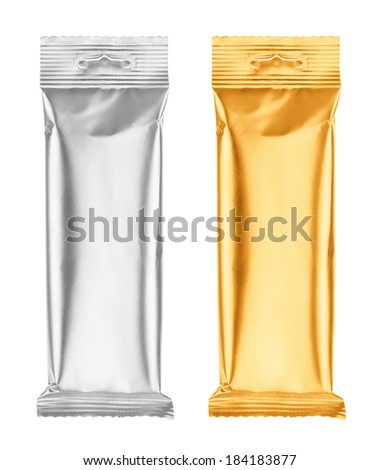 Snack plastic foil packaging isolated on white background