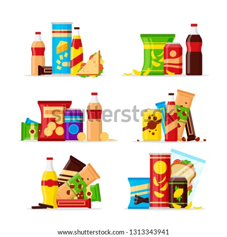 Snack product set, fast food snacks, drinks, nuts, chips, cracker, juice, sandwich isolated on white background. Flat illustration