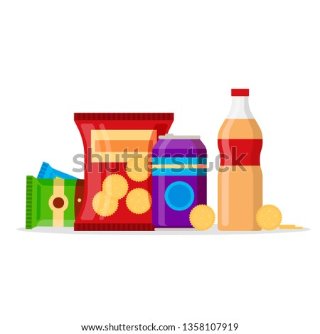 Snack product set, fast food snacks, drinks, nuts, cracker, juice isolated on white background. Flat illustration