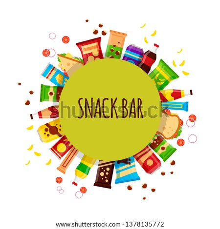 Snack product with circle. Fast food snacks, drinks, nuts, chips, cracker, juice, sandwich for snack bar isolated on white background. Flat illustration