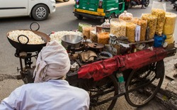 snack stall in the center of Delhi, India