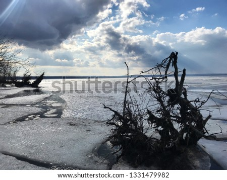 Snag on the river, protruding from the ice. The ice began to melt in the spring and split off. The sun beams through the clouds.