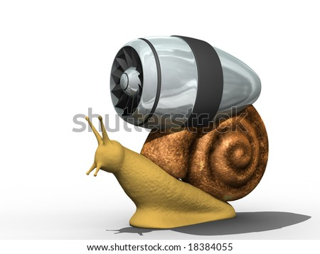 Snail with the turbine for fast movenent. Isolated.
