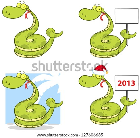 Snake Cartoon Mascot Characters-Collection. Raster Illustration.Vector Version Also Available In Portfolio.
